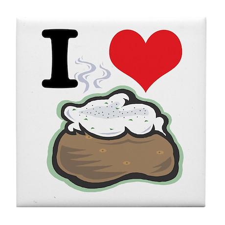 I Heart (Love) Baked Potatoes Tile Coaster