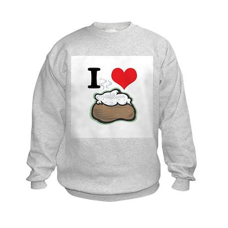 I Heart (Love) Baked Potatoes Kids Sweatshirt