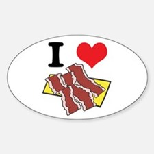 I Heart (Love) Bacon Oval Decal