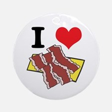 I Heart (Love) Bacon Ornament (Round)