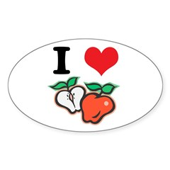 I Heart (Love) Apples Oval Decal