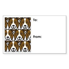 Red Border Collies Rectangle Decal