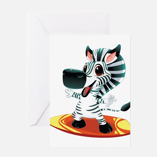 Surfing Zebra Greeting Card