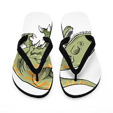 Angry Dinosaur Flip Flops