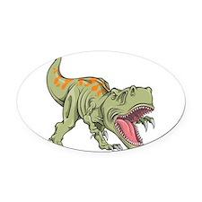 Screaming Dinosaur Oval Car Magnet