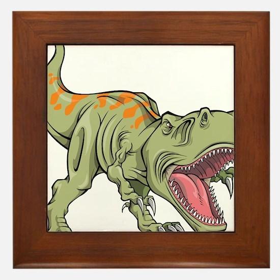 Screaming Dinosaur Framed Tile