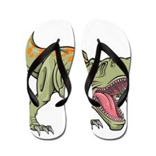 Screaming Dinosaur Flip Flops