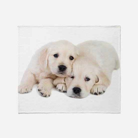White Labradors Throw Blanket