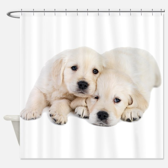 White Labradors Shower Curtain