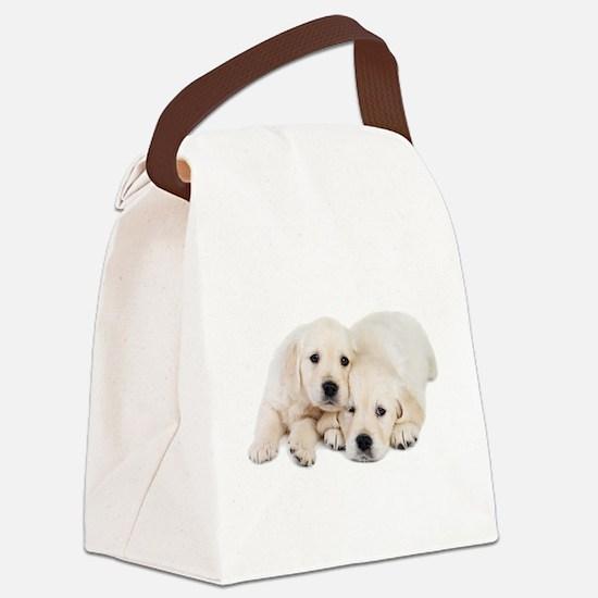 White Labradors Canvas Lunch Bag
