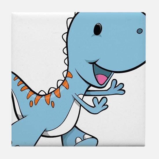 Running Baby Dino Tile Coaster