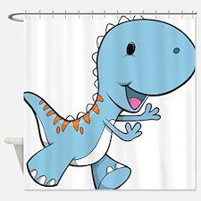 Running Baby Dino Shower Curtain
