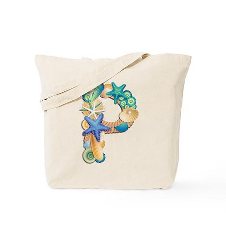 Beach Theme Initial P Tote Bag