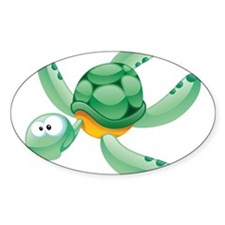 Swimming Cartoon Turtle Decal