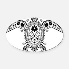 Art Turtle Oval Car Magnet