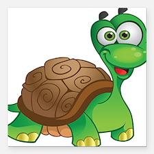 "Funny Cartoon Turtle Square Car Magnet 3"" x 3"""
