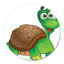 Funny Cartoon Turtle Round Car Magnet