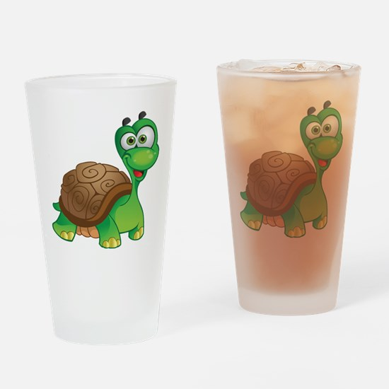 Funny Cartoon Turtle Drinking Glass