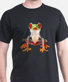Red Eyed Tree Frog II Black T-Shirt