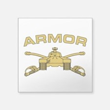 "Armor Branch Insignia Square Sticker 3"" x 3"""