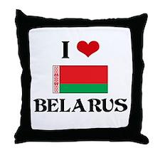 I HEART BELARUS FLAG Throw Pillow