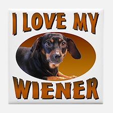 I Love My Weiner Tile Coaster