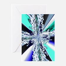 Electric Ocean Swirl Cross Greeting Cards (Package