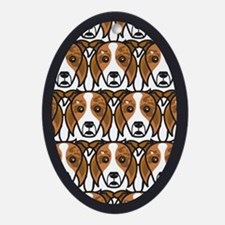 Red Merle Border Collies Oval Ornament
