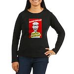 Button Your Lip! Women's Long Sleeve Dark T-Shirt