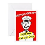 Button Your Lip! Greeting Cards (Pk of 10)