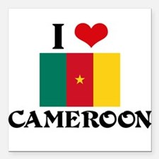 "I HEART CAMEROON FLAG Square Car Magnet 3"" x 3"""