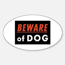 Beware of Dog Oval Decal