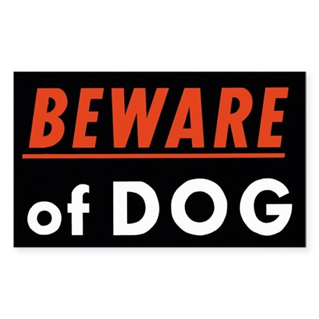 Beware of Dog Rectangle Sticker