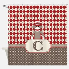 Retro Monogram C Sock Monkey Argyle Shower Curtain