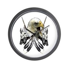 Buffalo Skull Eagle Round Wall Clock
