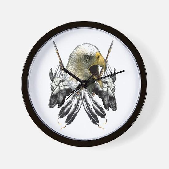 Buffalo Skull Eagle Round Wall Clock