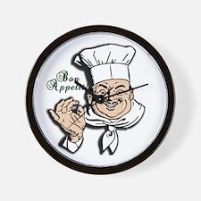 Chef Bon Appetit Round Wall Clock