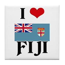 I HEART FIJI FLAG Tile Coaster