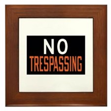 No Trespassing Framed Tile