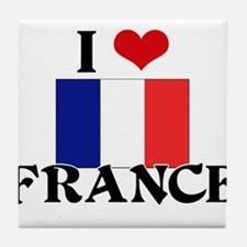 I HEART FRANCE FLAG Tile Coaster
