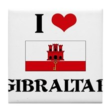I HEART GIBRALTAR FLAG Tile Coaster