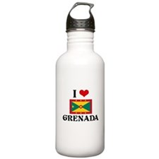 I HEART GRENADA FLAG Water Bottle