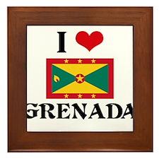I HEART GRENADA FLAG Framed Tile