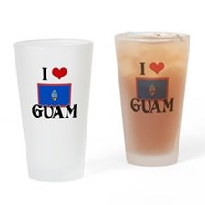 I HEART GUAM FLAG Drinking Glass
