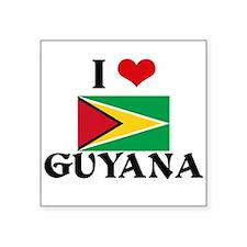 I HEART GUYANA FLAG Sticker