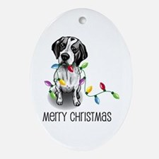 Pointer Christmas Lights Oval Ornament