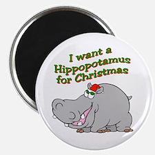 "Christmas Hippo 2.25"" Magnet (10 pack)"