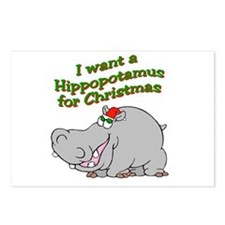 Christmas Hippo Postcards (Package of 8)