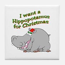 Christmas Hippo Tile Coaster