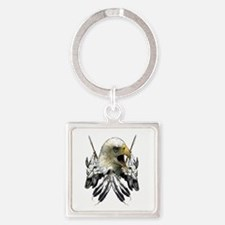 Buffalo Skull Eagle Square Keychain